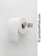 Roll of white toilet paper on a holder - Roll of white...