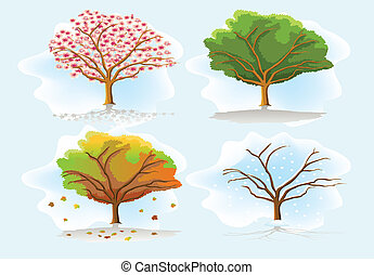 four seasons trees illustration