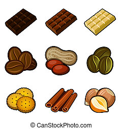 Chocolate and coffee icon set on white background. Vector.
