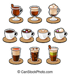 Coffee and tea cup set - Coffee cup set Tea cup Vector icon...