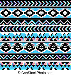 Tribal aztec seamless blue and pink - Vector seamless aztec...