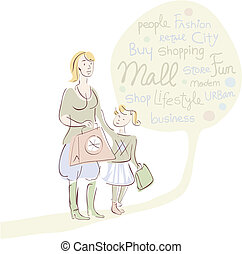 Shopping mother with daughter and word cloud