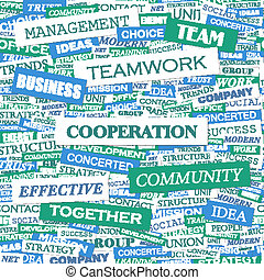 COOPERATION. Word cloud concept illustration. Wordcloud...