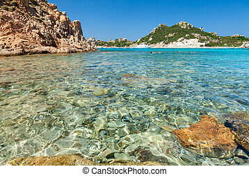 Cala Corsara bay in Sardinia - Clear turquoise water of Cala...