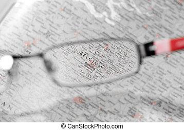 Eye searching Belgium - destination searching through eye...