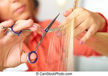 Hair salon Women`s haircut Cutting