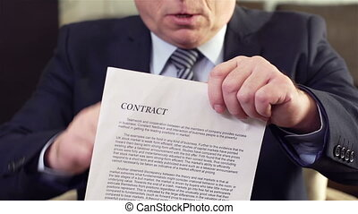 Cancelled Agreement - Slow-motion of a serious businessman...