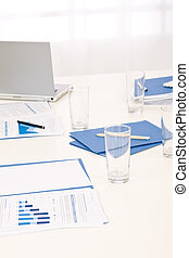Office supply on table before business meeting - Office...