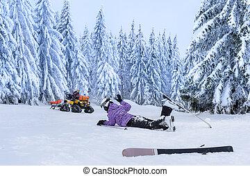 傷害, 事故, 援救, 以後, 等待, 滑雪者