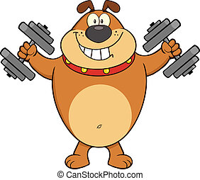 Happy Brown Bulldog With Dumbbells - Smiling Bulldog Cartoon...