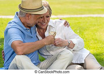 Senior couple clinking glasses on picnic - Senior hugging...