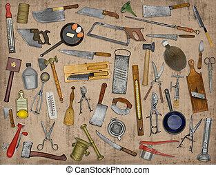vintage kitchen utensils collage over old paper