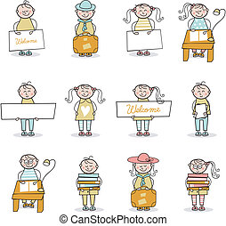 Children Set - Set with cartoons of children in educational...