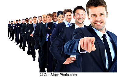 Business group in a row leader pointing his finger at you