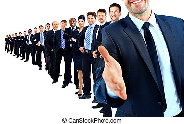 Business group in a row. leader with open hand and ready to...