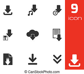 Vector black download icons set white background