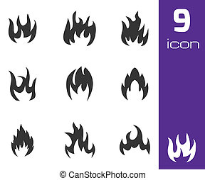 Vector black fire icons set