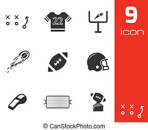 Vector black football icons set on white background