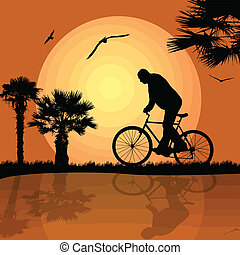 bicyclist on the abstract background