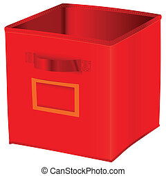 Red cube storage with space for a label. Vector...
