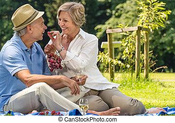 sorrindo, pensionista, par, fazendo piquenique, verão