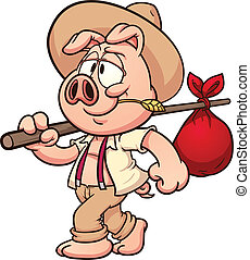 Farmer pig - Little cartoon farmer pig Vector clip art...