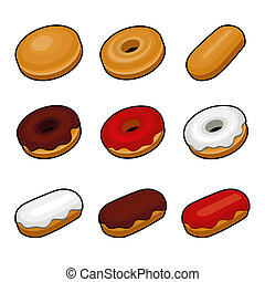 Colorful Donuts icon set on white background. Vector.