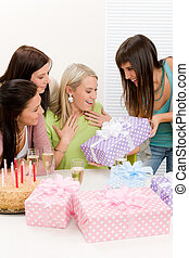 Birthday party - woman getting present