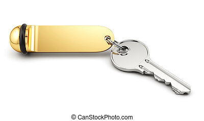 Hotel room key - 3d rende of hotel room key with golden...