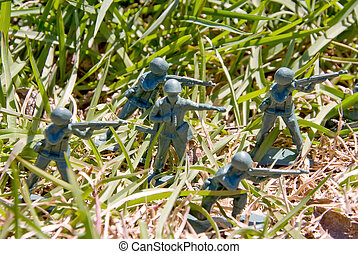 Army Man - A group of toy soldiers on maneuvers.