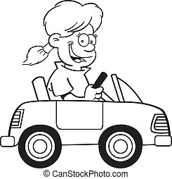 Cartoon girl in a toy car - Black and white illustration of...