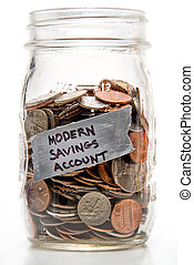 Modern Savings Account - Assorted coins being saved in a...