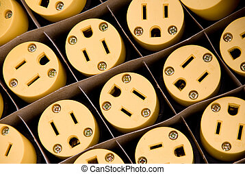 Electrical Plugs - A box of brand new electrical plugs.