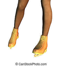 Female legs in gold ice skates - Digitally rendered image of...