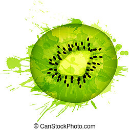 Kiwi fruit slice made of colorful splashes on white...