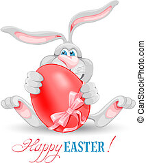 Easter greeting - Cartoon bunny holding Easter egg and...