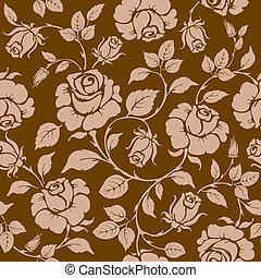 Rose. Seamless background. - Vintage seamless rose floral...