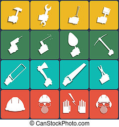 Hand tools icon set vector. Flat Design with Long Shadows....