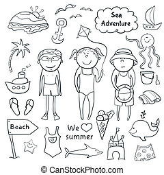 Beach set in doodle style - Beach graphic set, cartoon...