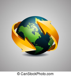 Globe with arrow - Earth globe wrapped with arrow, icon...