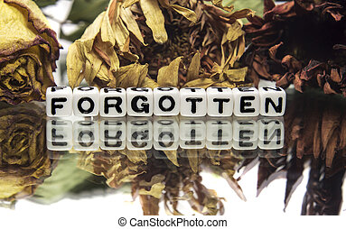 Forgotten text message with withered flowers,