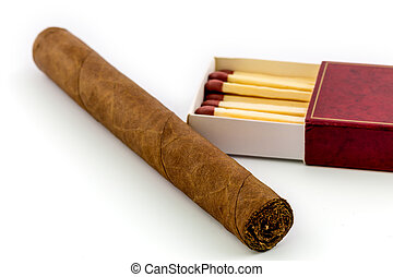 Cigar with matches isolated