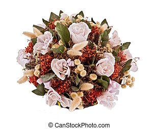 Decorative traditional wick basket with fake flowers in it...