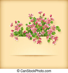 Floral greeting card pink cherry blossom flowers
