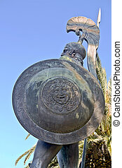 Large scale Achilles statue at Corfu, Greece (side view)...
