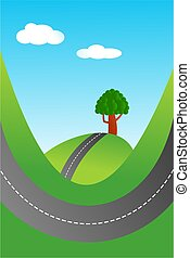 country road - Illustration of a country road and green...