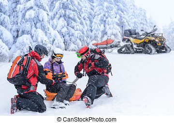 婦女, 巡邏, 援救, 打破, 隊, 滑雪, 手臂