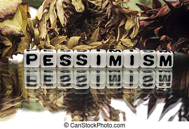 Pessimism text message with old flowers.