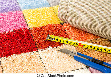 Carpeting knife, swatches and tape measure - Carpeting...