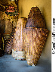Wicker baskets in Nepal, rural way of life concept